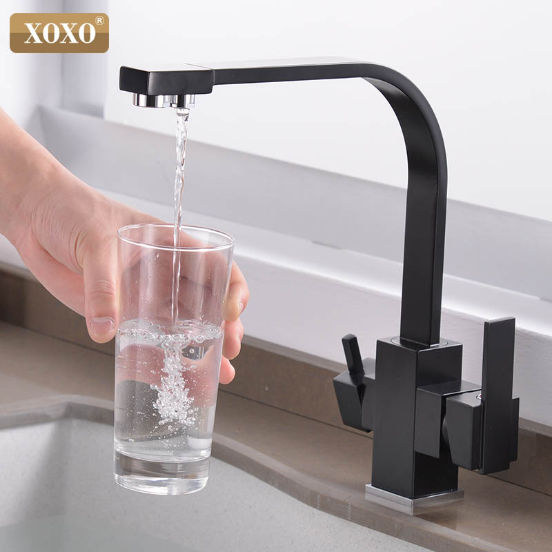 XOXO Cozinha Filtro De Água Potável de Torneira Único Buraco Quente e fria Preto Puro Pias de Água Deck Montado Toque Mixer 81058