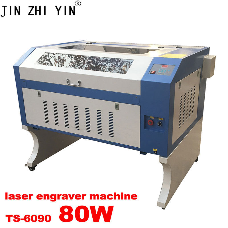 JINZHIYIN 80W CO2 6090 Laser Engraving And Cutting Machine With Electric Up And Down Table 110V/220V Rated Voltage