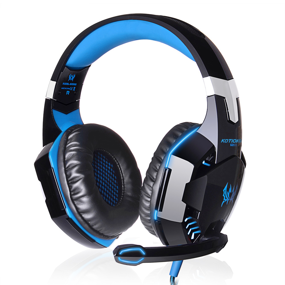купить Hot Gaming Headphones Deep Bass Headset Noise Cancelling Wired Earphone With LED Light Mic Volume Control For PC LOL Gamer G2000 недорого