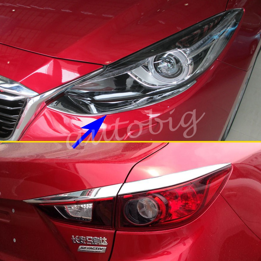 Head Tail Light Cover Chromium Styling Front Rear Lamp Trim FOR 2014 2015 2016 Mazda3 Mazda