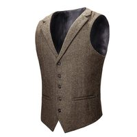 VOBOOM Woolen Tweed Waistcoat Men Suit Vest Khaki Gray Herringbone Mens Dress Vests Wedding Tailored Collar 018