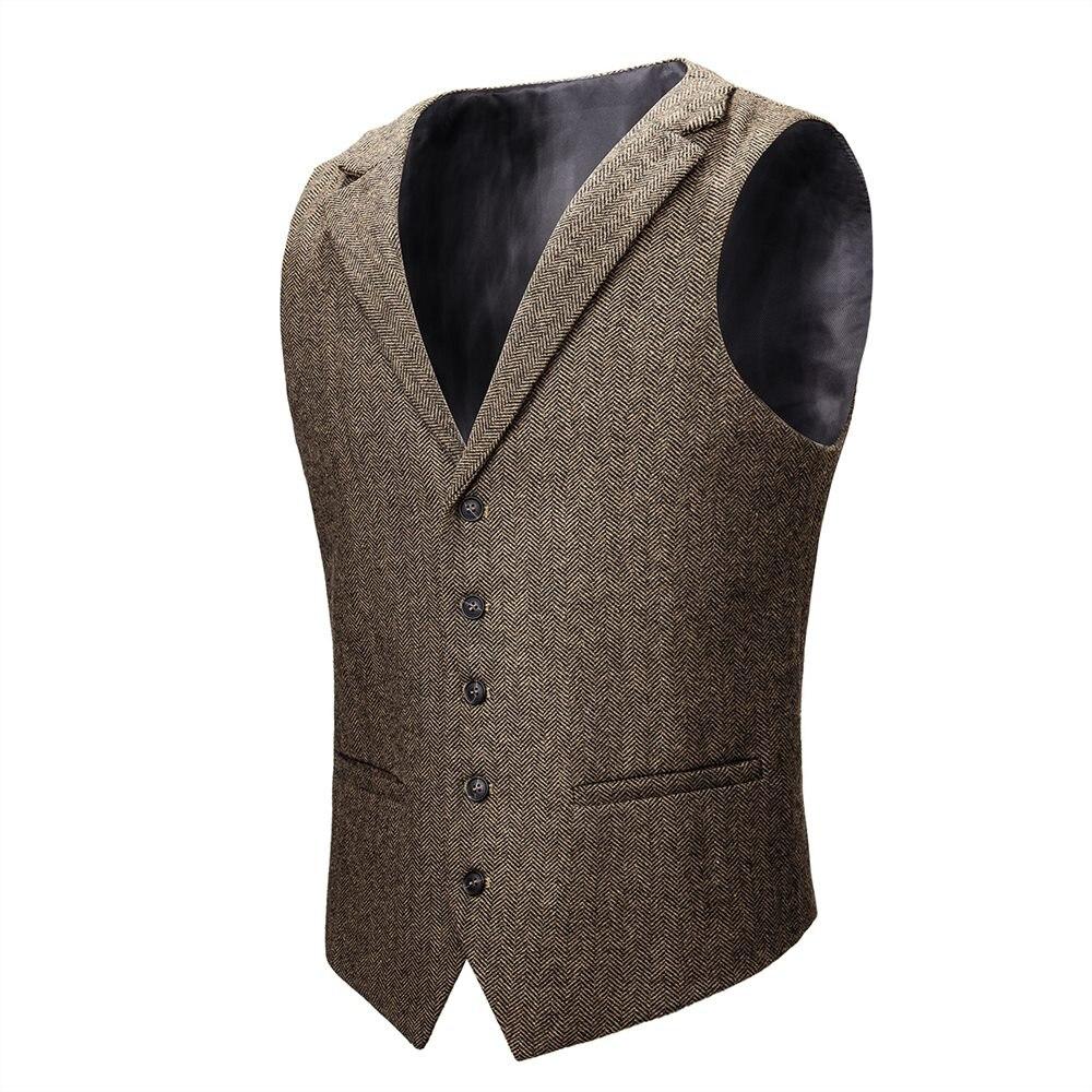 VOBOOM laine Tweed gilet hommes costume gilet kaki gris chevrons hommes robe gilets de mariage sur mesure col 018