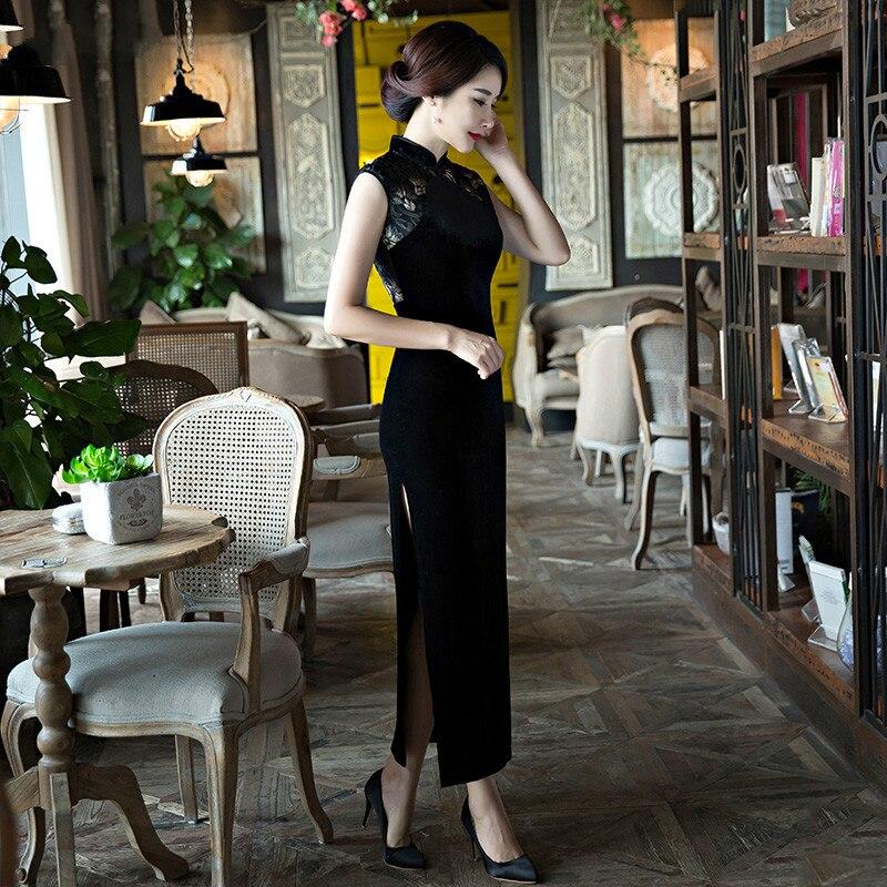 Νέα Μαύρη Lace Cheongsam Μακρύ φόρεμα μέση - Εθνικά ρούχα - Φωτογραφία 6