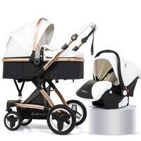3 в 1 люкс Детские коляски комплект складная детская коляска для новорожденных путешествия Системы сидя лежа 2 в 1 детские тележки коляски дл