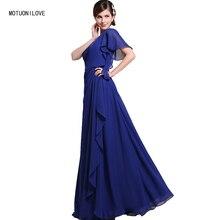 Cheap Simple Evening Gown Royal Blue Single Short Sleeves Plus Size Prom Dresses Floor Length Dress vestido longo festa