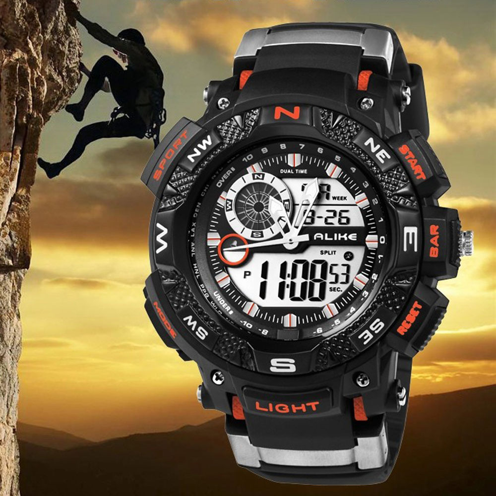 50M Waterproof Double Movement Quartz Digital Sport Watches Rubber Band LED Electronic Wristwatch