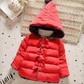 2016 розовый и красный девочка верхняя одежда мода бантом с капюшоном хлопок пальто на осень и зима теплая детская одежда