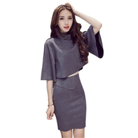 2018 New Spring Summer Fashion Sexy Chic Suit Skirt Korean 3 4 Sleeve Tops High Waist