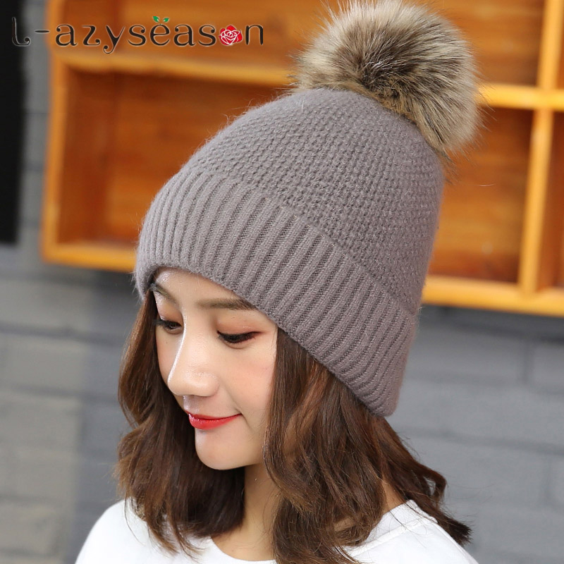 New fashion autumn winter girl hats for women pompom bonnet female beanie women rabbit fur knitted beanie hat double warm cap adult beanie skullies rabbit fur ball shining warm knitted hat autumn winter hats for women