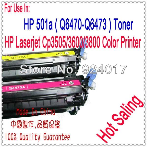 Réinitialiser le Toner pour HP Color Laserjet CP3505 3600 3800 imprimante, utiliser pour HP 501a Q6470A Q6472A Q6473A Toner, utiliser pour HP 3505 3600 Toner