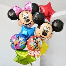 Free shipping 8pcs / lots Foil Balloons Set Mickey Minnie children's toys wholesale party balloon birthday decoration pentagram