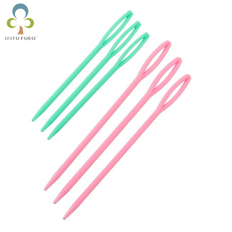 6pcs/lot 7cm/9cm Plastic Knitting Needles Seam Sewing Tool Needlework Needle Arts & Crafts DIY Accessories GYH(China)