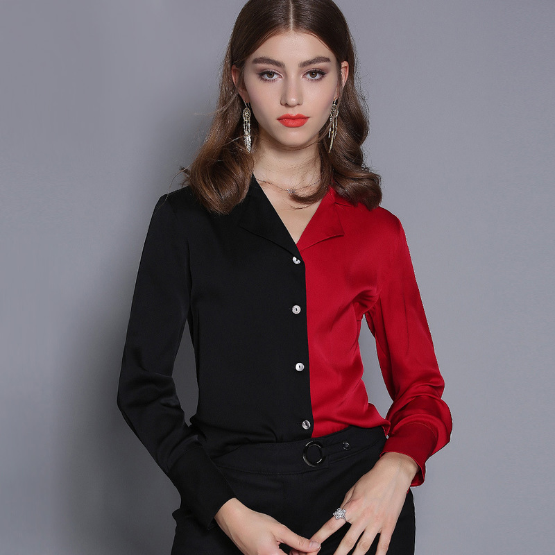 Блузка женская, черная, красная, шелковая, 5xl