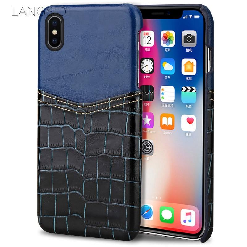 Wangcangli coque de téléphone motif crocodile carte en cuir coque de téléphone pour iphone X coque de téléphone tout à la main traitement personnalisé