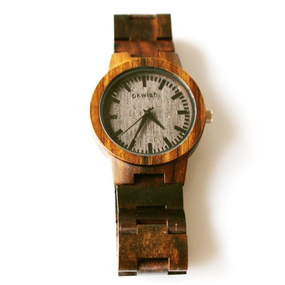 OKWISH Top Brand Designer Women 's Fashion Wood Watch Wooden Quartz Watches for  Women Watch