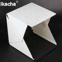 Mini Folding Studio Diffuse Soft Box With LED Light Black Wh