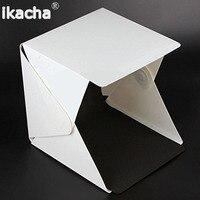 Mini Folding Studio Diffuse Soft Box With LED Light Black White Background Photo Studio Accessories