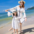 Mother daughter dresses family look girl and women white matching family dresses summer mommy and me clothes bohemian beachwear