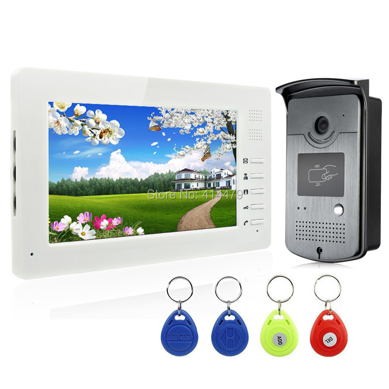 7 inch HD LCD Monitor Home Video door phone Intercom System with 700TVL ID Card alloy Camera Night Vision homefong 7 tft lcd hd door bell with camera home security monitor wire video door phone doorbell intercom system 1200 tvl