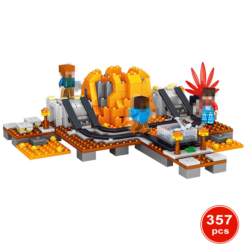 357pcs Volcano mine MY WORLD Compatible Legoing Minecrafted Figures Building Blocks Bricks Set Educational Toys for Children new 4pcs set minecraft sword espada models figures my world building blocks model set figures compatible toys for kids