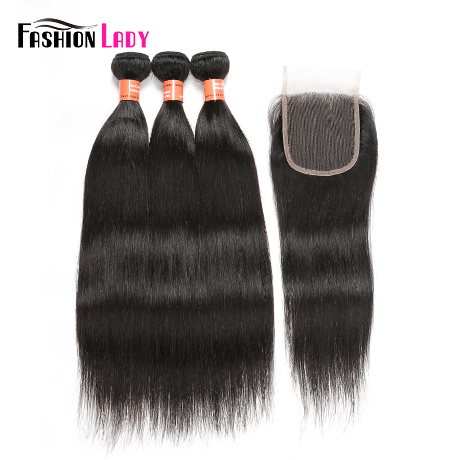 FASHION LADY Pre-Colored Straight Brazilian Hair Natural Color 100% Human Hair 3 Bundles With 4x4inch Lace Closure Non-Remy