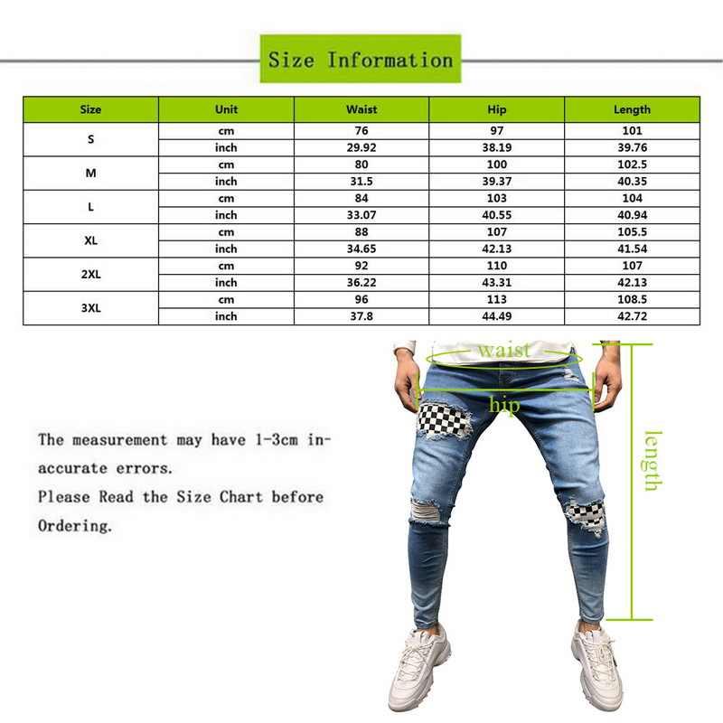 Fashion High Street Mannen Denim Jeans Plaid Patchwork Skinny Broek Slim Fit Rits Potlood Jeans Homme Verontruste Gescheurde Jeans Broek
