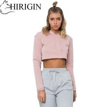HIRIGIN Summer Women Casual Hoodie Blouse Ladies Solid bellybutton Short Top Slim Print Crop Top Hooded  Sportwear