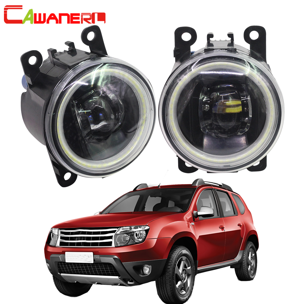 Cawanerl 2 Pieces Car LED Bulb Fog Light Angel Eye DRL 12V For Renault Duster Closed