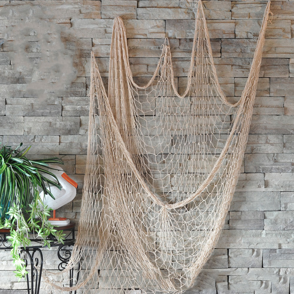 Hemp Rope 1*2M Decor Nets Decorative Fishing Net Mediterranean Beach Ceative Office Nautical Bar Playground For Home