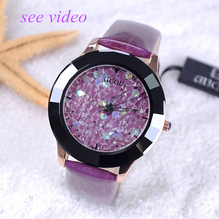 8 Colors New Arrival Hongkong Brand Women Rhinestone Watches Austrian Crystal Ceramic Leather Band Women Dress