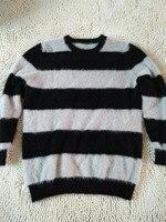 New genuine mink cashmere sweater men pure cashmere stripe sweater pullovers mink sweater free shipping Wholesale price