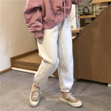 Winter Add Velvet Thicker Elastic Waist Pants Loose One Size Solid Color Cotton Harem Women Casual Warm Belted Trousers