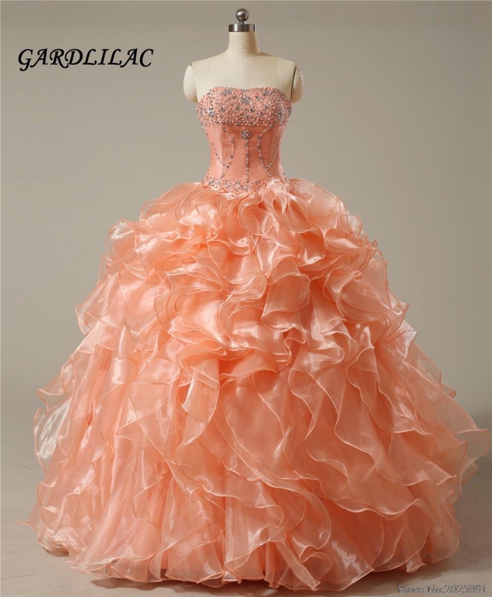 Trägerlose Korallen Quinceanera Kleider 2019 Ballkleid mit Kristallperlen Günstige Quinceanera Kleider Langes Abendkleid