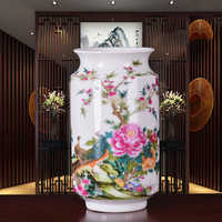 New Arrival Antique Jingdezhen Thin China Vase With Flowers and Bird Patterns Ceramic Table Vase Porcelain Decorative Vase
