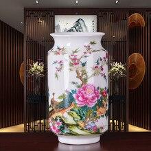 Nuovo Arrivo Antico Jingdezhen Sottile Vaso di Porcellana Con Fiori e Uccelli Modelli Da Tavolo In Ceramica Vaso di Porcellana Vaso Decorativo