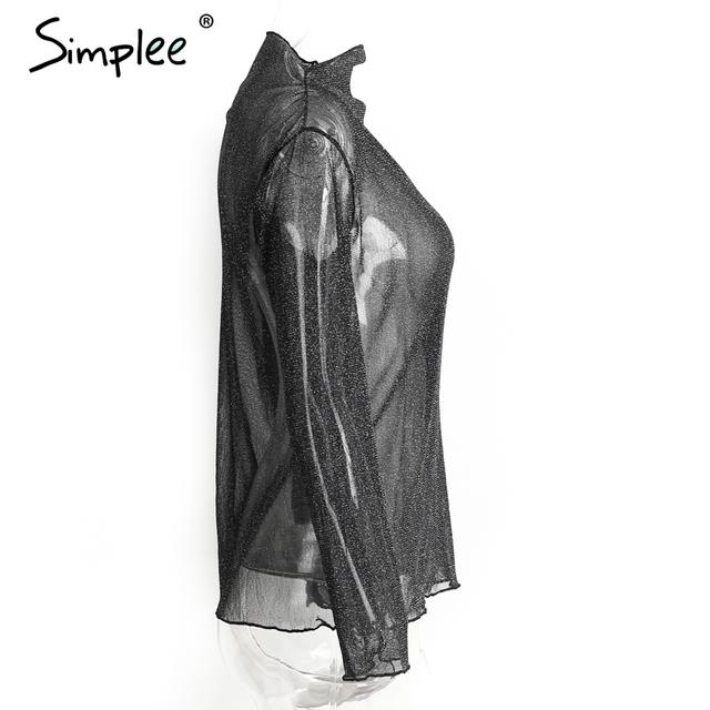 Simplee Transparent mesh blouse shirt women tops blusas Long sleeve blouse chemise femme Casual dot shirt feminine blouse summer