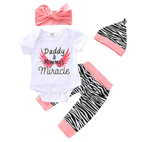 Summer Baby Girl Clothes Set With Headband Hat Casual Short Sleeve Romper Tops Letter Pattern Floral Trousers Outfits Set L