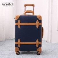 2018 large suitcase travel luggage retro leather suitcase luggage trolley spinner genuine leather carry ons free shipping