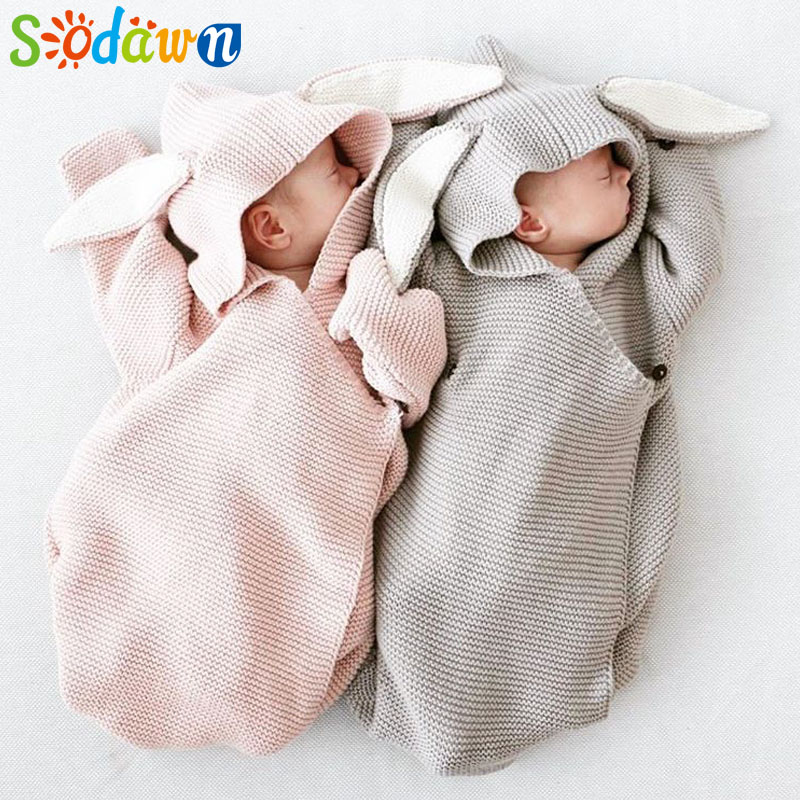 outlet store 14f15 ed068 US $13.5 46% OFF|Sodawn New Fashion Cute Cartoon Ear Sleeping Bag Knit Baby  Supplies Clothes Hug Blanket Blanket Baby Sleeping Bag Onesies-in ...
