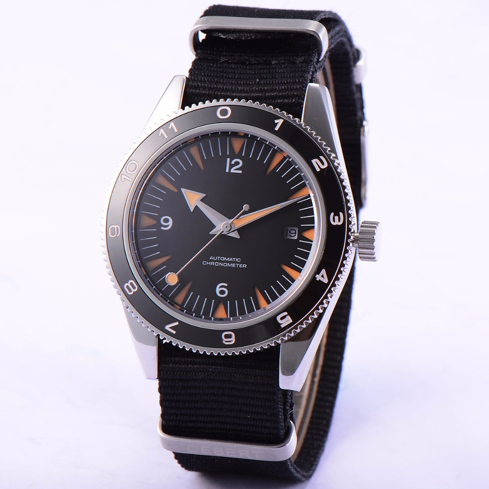 41mm debert black dial orange hands 21 jewels miyota Automatic mens font b Watch b font