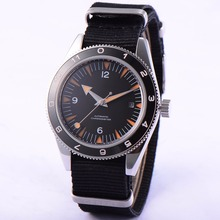 41mm debert black dial orange hands 21 jewels miyota Automatic mens Watch