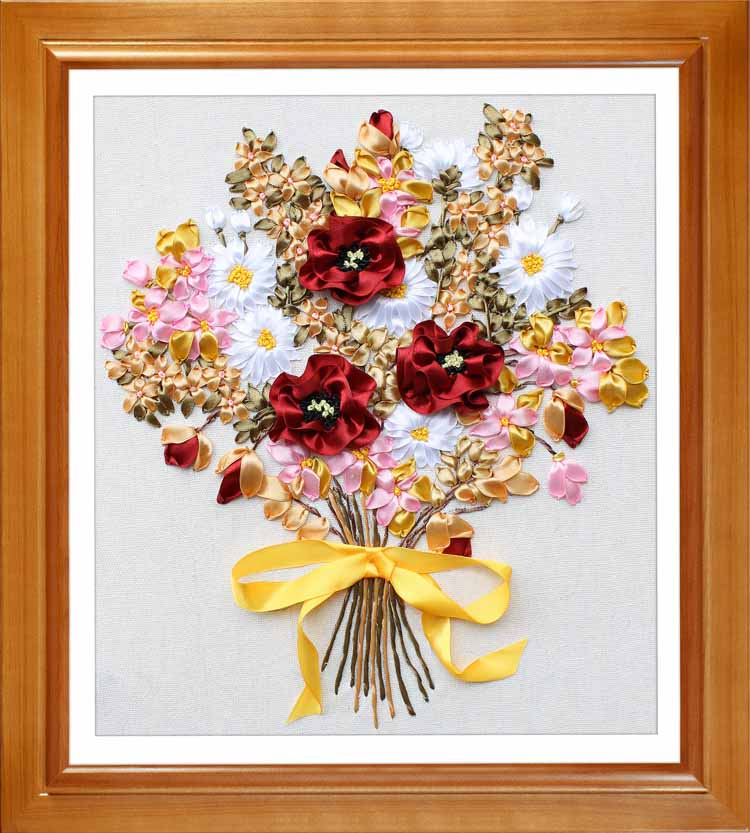 Red Flower bouquet silk Ribbon embroidery kit handcraft cross stitch ...