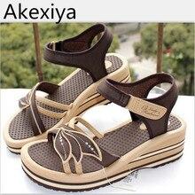 Akexiya vietnam breves sandalias femeninas sandalias de las cuñas de las mujeres zapatos de plataforma de la flor del envío libre