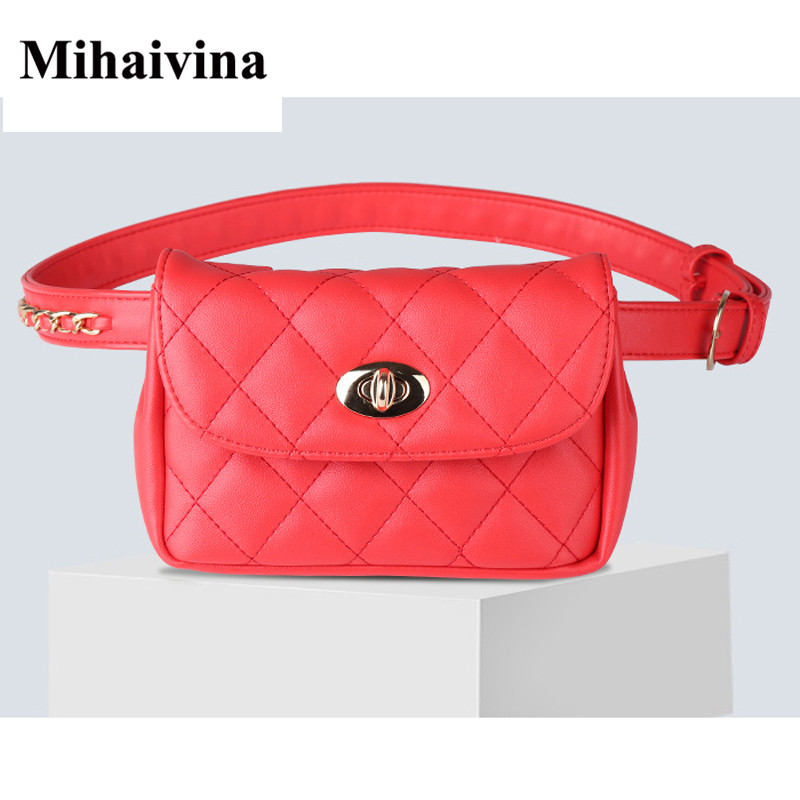 Image 2 - Mihaivina Fashion Leather Waist Bag Women Fanny Chest Bag Pack Femal Plaid Belt Bags Hip Money Travel Phone Pouch Bags-in Waist Packs from Luggage & Bags