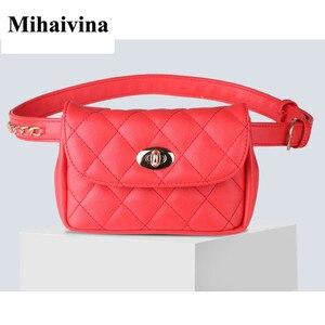 Image 2 - Модная Кожаная поясная сумка Mihaivina для женщин, забавная нагрудная Сумочка, Женский клетчатый поясной кошелек, дорожный мешочек для денег и телефона