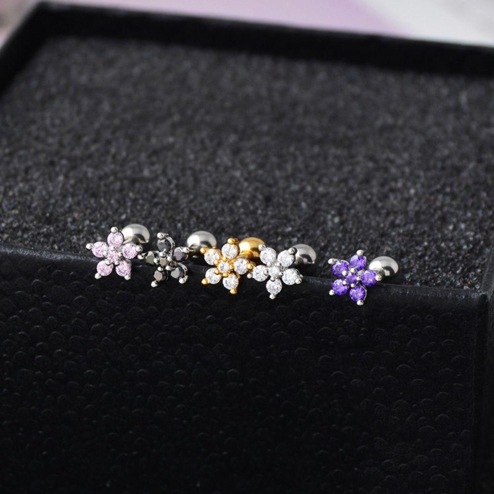 Zircon Flower Cartilage Ear Stud Bar Cartilage Piercing Earring Fashion Jewelry Sexy Girls Tragus Helix Earring Anti-allergy