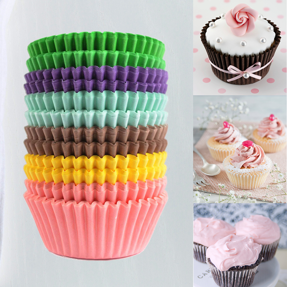 500Pcs Mini Chocalate Paper Liners Baking Cupcake Cases Muffin Cake Solid PRA