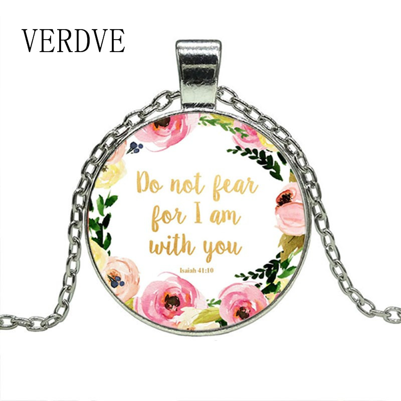 VERDVE Do Not Fear for I Am With You Necklace Isaiah 41 10 Bible Verse Necklace Floral Inspirational Jewelry Christian Gifts