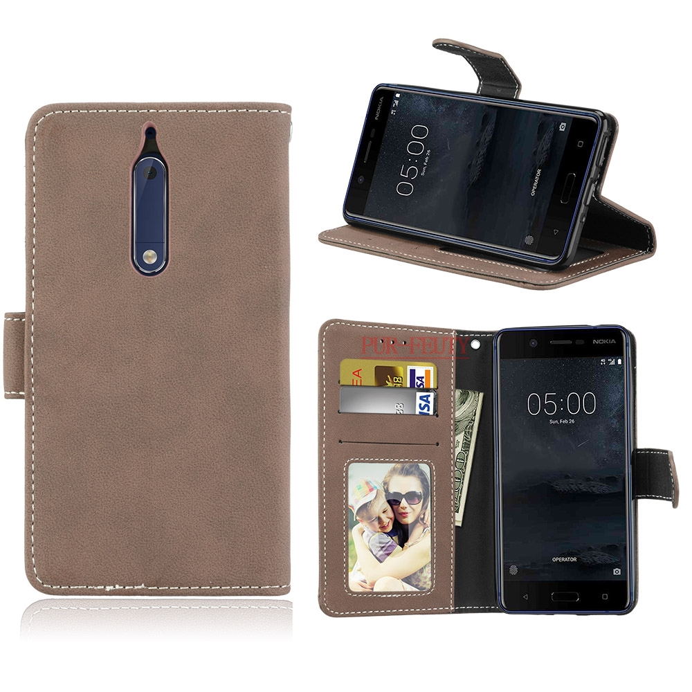 Flip Case for Nokia5 <font><b>TA</b></font>-<font><b>1053</b></font> <font><b>TA</b></font>-1024 Case Phone Leather Cover for Nokia <font><b>5</b></font> Global Dual <font><b>TA</b></font> <font><b>1053</b></font> Black Wallet Silicone Cell Cases image