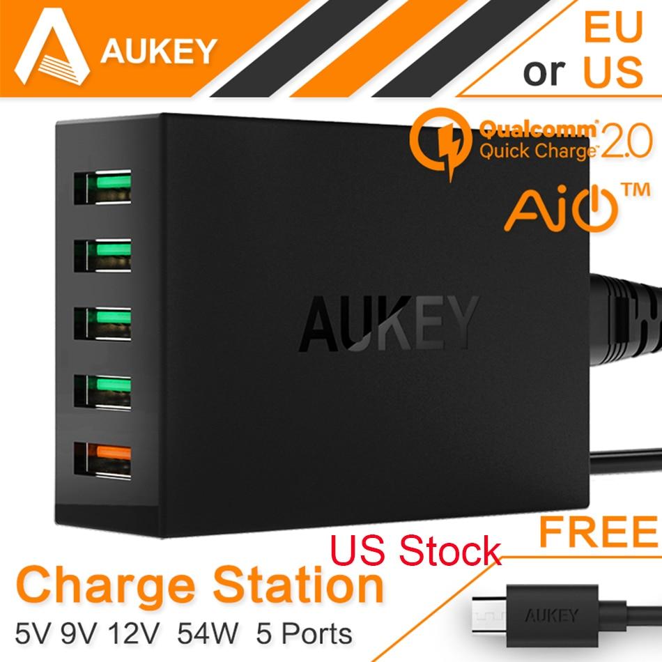 Цена за Aukey быстрое зарядное устройство 2.0 для Xiaomi iPhone 6 7 7 Plus Sony HTC 54 Вт 5 порт micro usb быстро Зарядное устройство QC2.0 стены зарядки США со